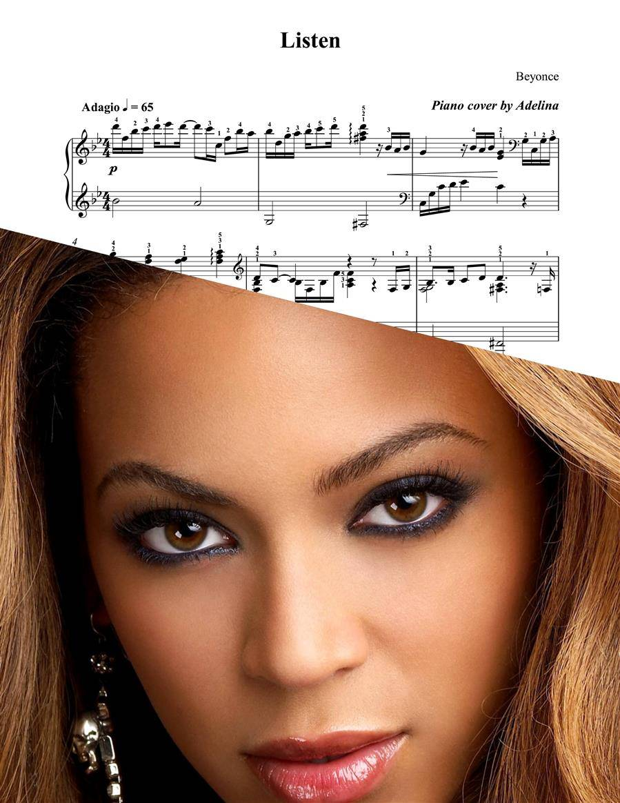 """Listen"" - Beyonce - Piano Sheet Music Beyonce Songs"