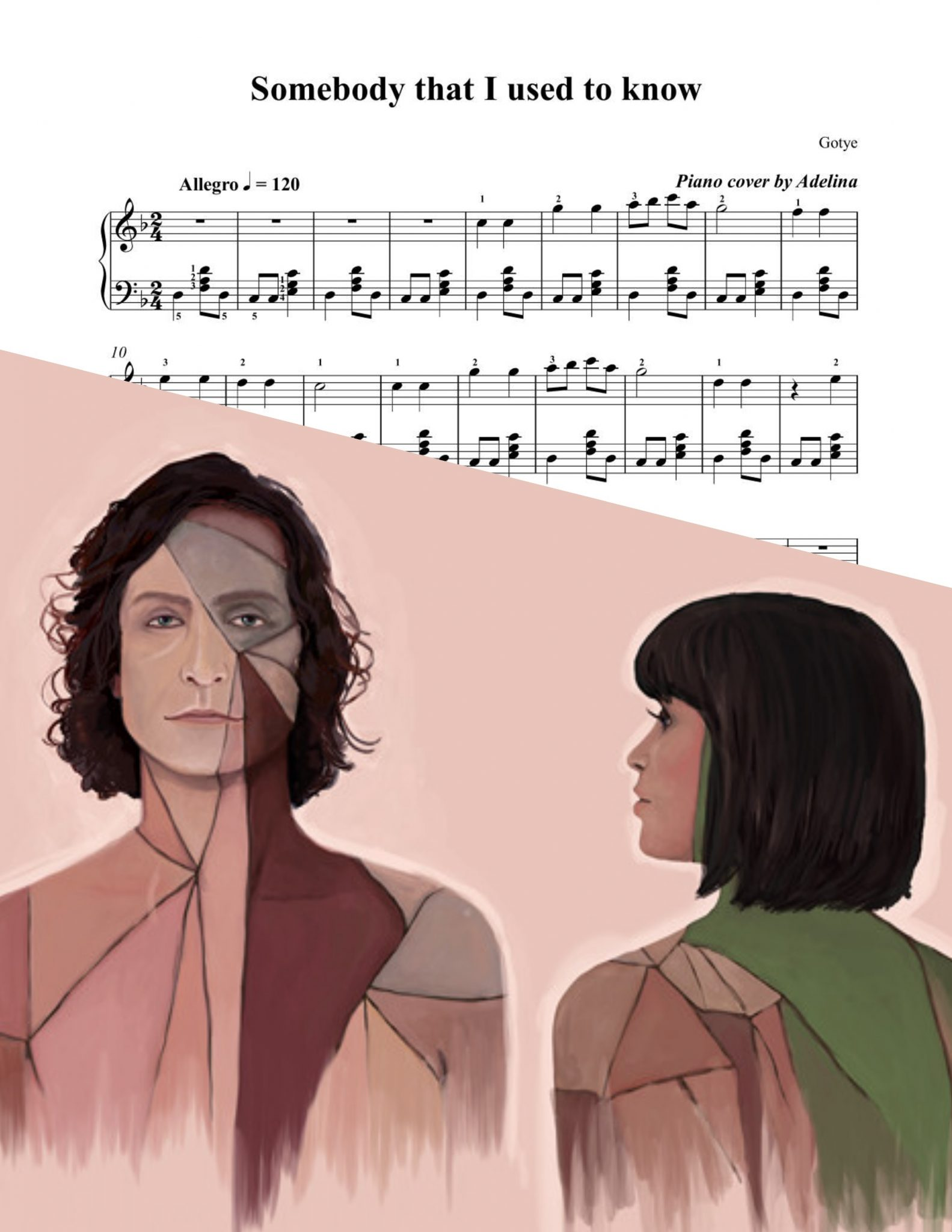 """""""Somebody that I used to know"""" - Gotye - Piano Sheet Music"""