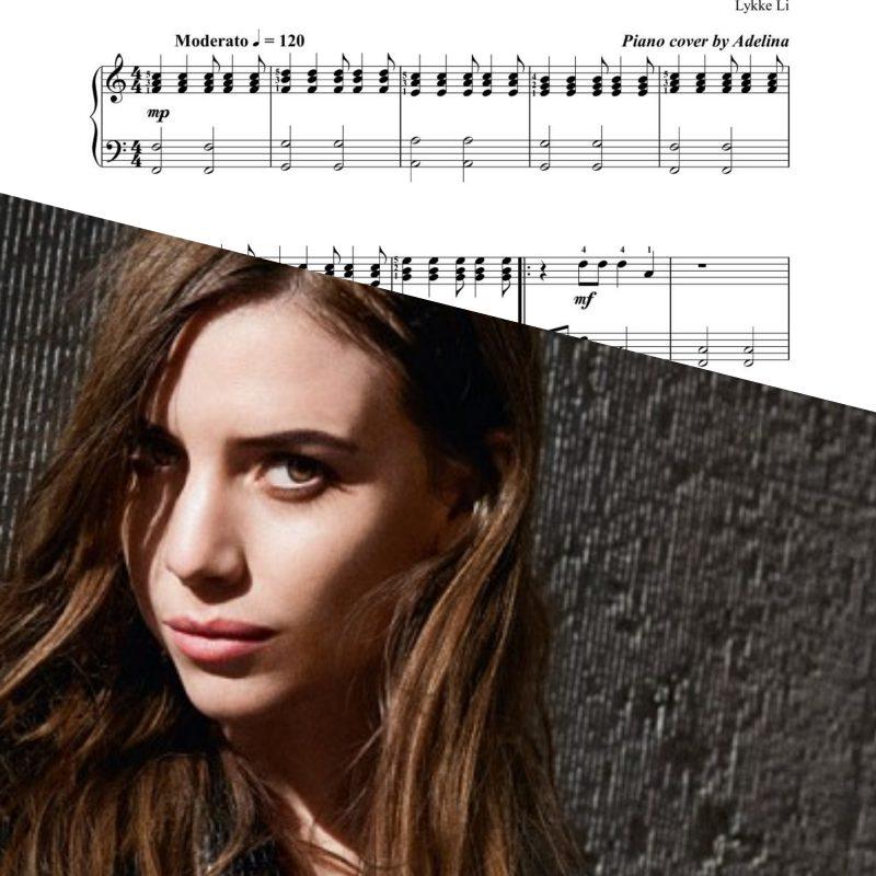 """""""I follow rivers"""" – Lykke Li – Piano Sheet Music"""
