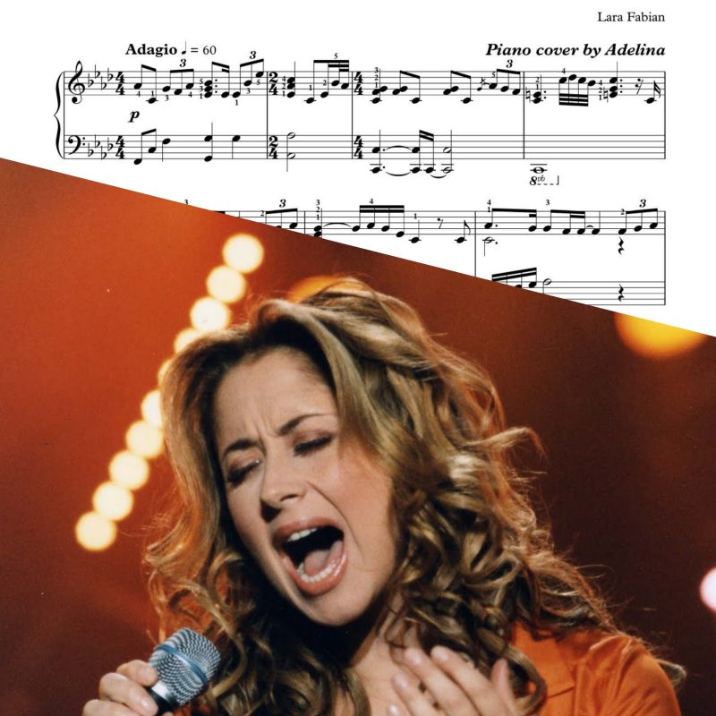 """""""Je T'aime""""- Lara Fabian- Piano Sheet Music"""