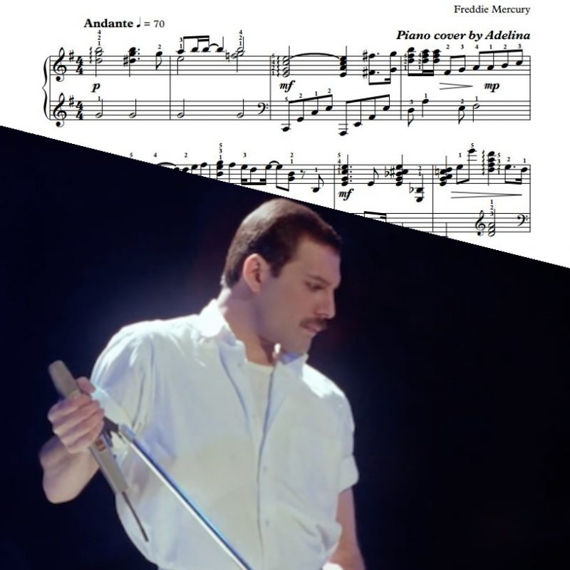 """Time Waits For No One"" – Freddie Mercury – Piano Sheet Music"